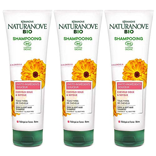 Kéranove 21036638 Naturanove Bio Calendula Shampoo für alle Arten von Haaren, 250 ml, 3 Stück