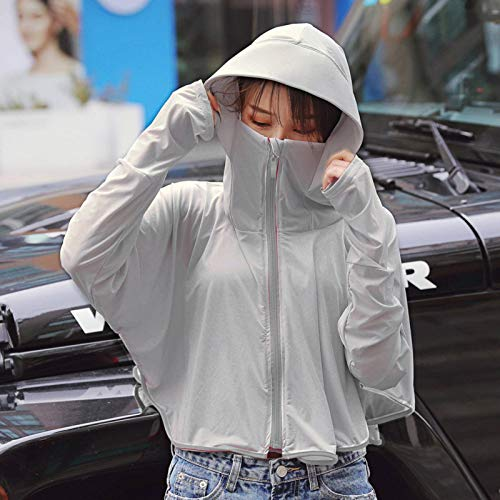 N\C Sun Protection Clothing Female Summer Long-Sleeved Ice Silk Driving Sun Protection Shirt Light and Loose Outdoor Sun Protection Clothing with Hood