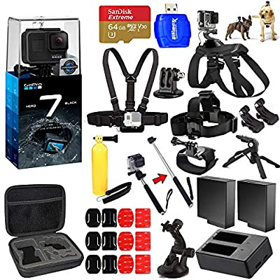 GoPro HERO7 Hero 7 Black All in 1 MEGA Accessory Bundle with 2 Extra Batteries and Charger, 64GB Micro SD, Chest Strap, Head Strap, Medium Case + Much More from Pixel Hub