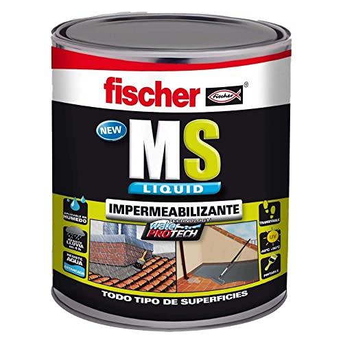 fischer - Pintura impermeabilizante (cubo 1kg) polímero MS Marrón, resistente al agua y exteriores