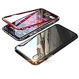 Alsoar Adsorción Magnética Funda Compatible con iPhone 6/iPhone 6S Estuche Vidrio Templado Transparente Trasera Cubierta Marco de Metal 360 Grados Protección Carcasa (Rojo)