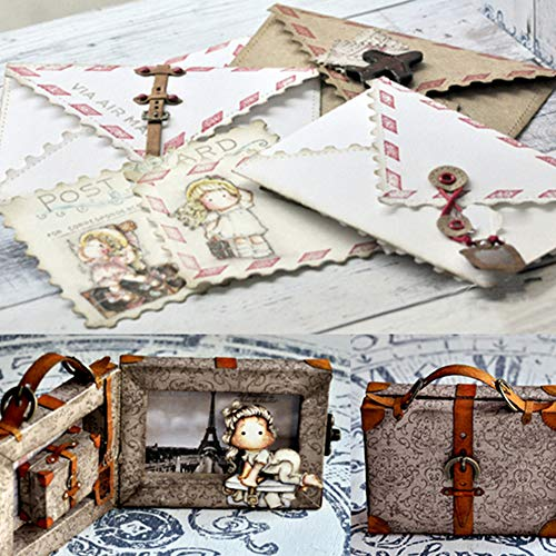 Lai-LYQ 3D Suitcase Frame Metal Cutting Dies, Scrapbook Stencil DIY Embossing Paper Christmas Festival Card Making Mold Album Craft Gift Silver