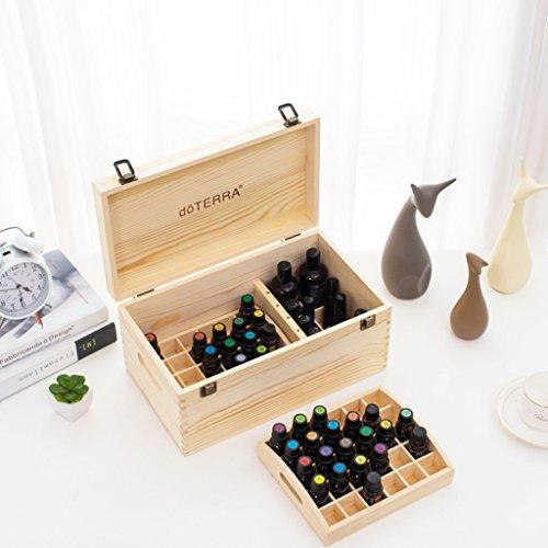Trousses à maquillage Boîte à Huile en Bois 15ML Boîte à Huile en Bois Double Grid 66 Vanit (Color : Beige, Size : 34.7 * 20 * 16.5cm)