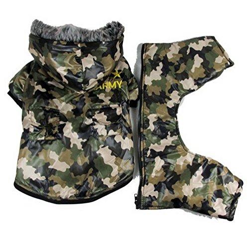 Pegasus Selmai - Disfraz de camuflaje para perro, impermeable, con capucha, para invierno, color verde militar, XS, para perros pequeños, gatos y cachorros