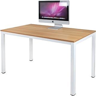 DlandHome Escritorios Mesa de Ordenador 120x60cm Escritorio de Oficina Mesa de Estudio Puesto de Trabajo Mesa de Despacho, Teca & Bianco