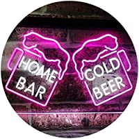 Home Bar Cold Beer Mugs Cheers Dual Color LED看板 ネオンプレート サイン 標識 白色 + 紫 300 x 210mm st6s32-i2348-wp