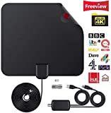 TV Aerial, Indoor Amplified Digital HDTV Aerial 120 Mile Range with 4K 1080P HD VHF UHF Freeview TV for Life...