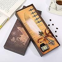 Cafshinu フェザーペン英国スタイルのペン、彼のガールフレンドの同僚教師のギフトを送ります (Color : 白, Size : フリー)