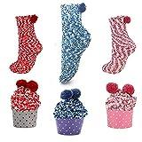 N/AA 3 Paare Cupcake Design Flauschige Socken, Geschenk Box Kuschelsocken, Weiche Bequeme Warme...