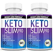 Vegepower Keto Slim Pro 180 Capsules 2 Pack-Apple Cider Vinegar,Exogenous BHB Salt Supplement for Ketogenic Diet-Utilize Fat for Energy/Focus,Weight Management, Manage Cravings-Women Men