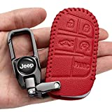 Car Key Case - Genuine Leather Protector Keychain for Jeep Grand Cherokee Renegade Chrysler 200 300 Dodge RAM Durango Charger Challenger Journey Dart Fiat key fob cover, Pink, Large…