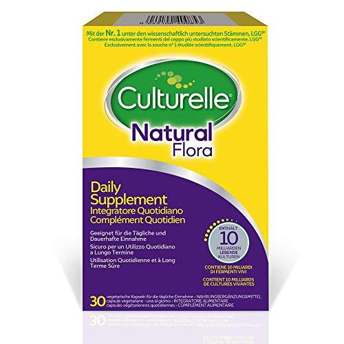 Culturelle Natural Flora Supplemento Quotidiano - 30 capsule - 10 miliardi di colture batteriche + vive Lactobacillus rhamnosus GG - fornitura di 30 giorni