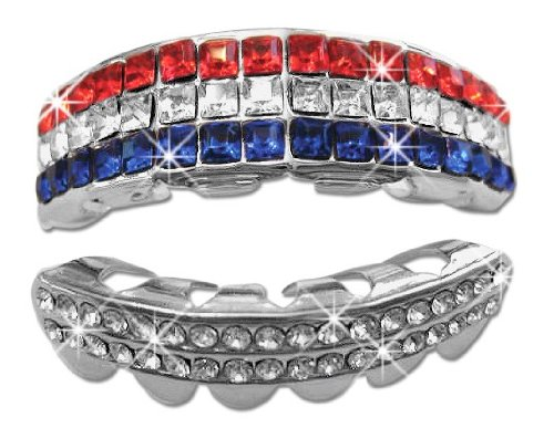 Big Dawgs Bling Hip Hop Platinum Silver Plated Removeable Mouth Grillz Set (Top & Bottom) The Patriot