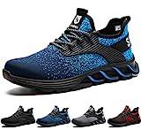 SUADEX Zapatos de Seguridad Hombre Mujer, Punta de Acero Zapatos Ligero Zapatos de Trabajo Respirable Construcción Zapatos Botas de Seguridad (Azul,43EU)