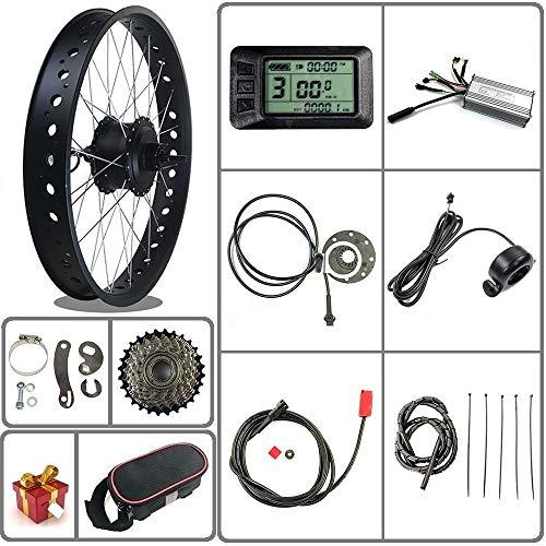 Tbrand Ricetoo 36V 500W Snow Bike/Fat Tire Electric Bicycle Conversion Kit 20 inch Wheel Rear Rotate Hub Motor with LCD7U Display.