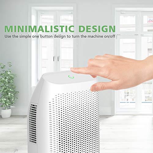 hysure 2000ML Dehumidifier, Removes Humidity 750ML per day, 2000ML Detachable Water Tank, LED Indicator, Automatic, Eco-Friendly, Portable, Quiet, No Need Refill