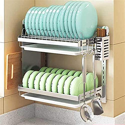 ZRB Dish Drying Rack, Kitchen Dish Rack Wall Mount,Hanging Dish Drying Rack Space Saver,Stainless Steel Dish Drainer With Utensil Holder Storage Shelf,Drainer Shelf