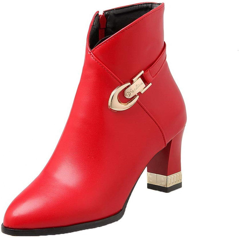 WeiPoot Women's Pu Zipper Closed-Toe Kitten-Heels Low-Top Boots, EGHXI115529