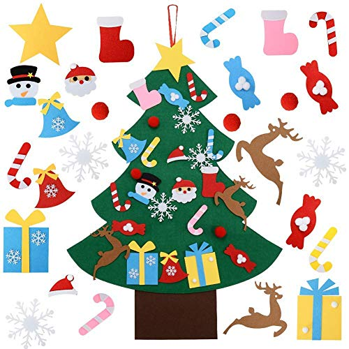 YUAKOU Felt Christmas Tree, 26pcs DIY Christmas Tree with Ornaments Wall Hanging for Kids Xmas Gifts Home Door Wall Decoration