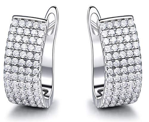 XIRENZHANG Pendientes vintage con diseño de temperamento con diamantes, de lujo, para mujer, color blanco