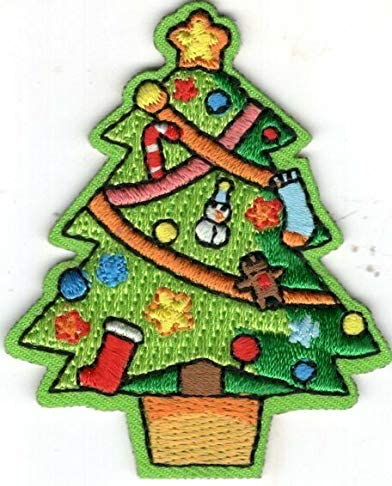 Boston Mall CHRISTMAS TREE Iron On Patch Santa Holiday Dealing full price reduction