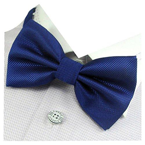 GASSANI Herren-Fliege Karo kariert Royal-Blau | Blaue vor-gebundene Anzug-Schleife Seide-Optik | verstellbar mit Doppelflügel zum Smoking