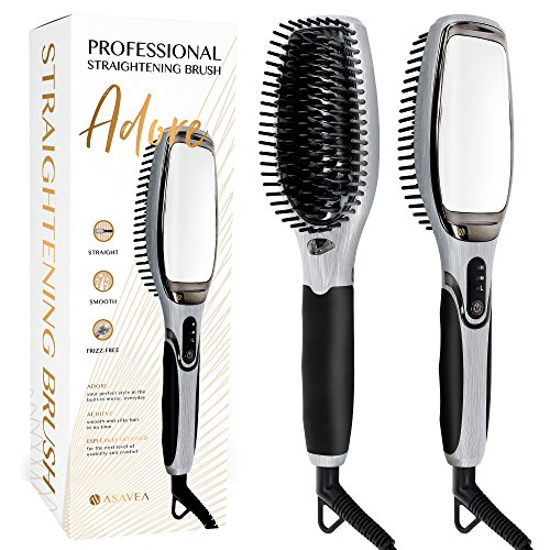 AsaVea Hair Straightener Brush 3.0: MCH Heating Technology and Auto Temperature Lock, Anti-Scald...
