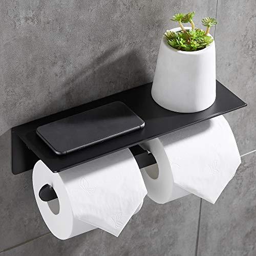 TRUSTLIFE Doppelter Toilettenpapierhalter mit Großem Regal Installation mit Kleber ohne Bohren Wandrollenhalter mit Telefonhalter für Bad und Küche Matt Schwarz