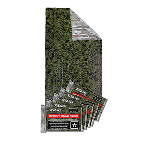 Titan Survival's Two-Sided Emergency Mylar Survival Blankets, 5-Pack (Woodland CAMO)