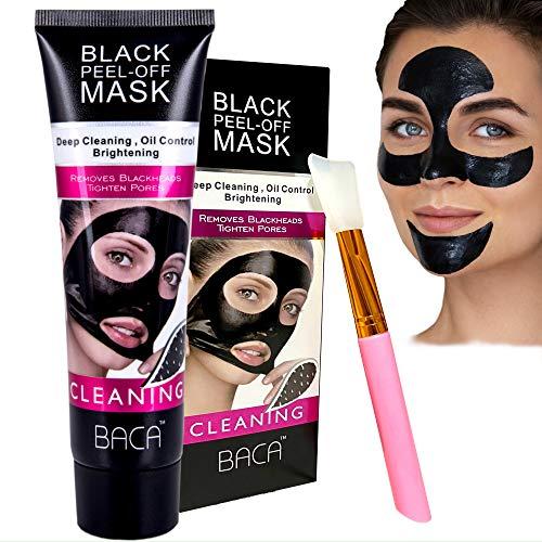 BACA Black Head Removal Peeling Off Mud Mask, Tube 120 G + Spatel, Reinigende Schwarze Gesichtsmaske Mit Bambus Holzkohle, Gegen Pickel, Mitesser, Akne, Aufhellend, Tiefreinigend, Revitalisierend