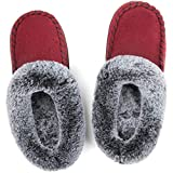 ULTRAIDEAS Women's Cozy Memory Foam Moccasin Suede Slippers with Fuzzy Plush Faux Fur Lining, Ladies' Slip on House Shoes with Indoor Outdoor Anti-Skid Rubber Sole,Red,7-8
