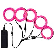 Zitrades EL Wire Pink Neon Lights Kit with 4 Modes Portable Battery Operated for DIY Party Decoration, 5 by 1-Meter