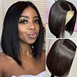 DACHIC 13x4 Short Bob Wigs Human Hair for Black Women Glueless Brazilian Straight Human Hair Wigs Pre Plucked Lace Frontal Bob Wigs Short Lace Wigs Middle Part Natural Color 130% Density (10 Inch)