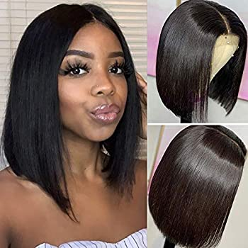 DACHIC 13x4 Short Bob Wigs Human Hair for Black Women Glueless Brazilian Straight Human Hair Wigs Pre Plucked Lace Frontal Bob Wigs Short Lace Wigs Middle Part 130% Density Natural Color  8 Inch
