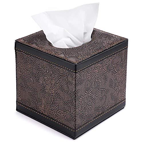 U-A Cuero de PU Cubo de Oficina para el hogar Soporte de Papel de Seda Cuadrado Caja de la Cubierta del Estuche Servilletero (Flor Negra)