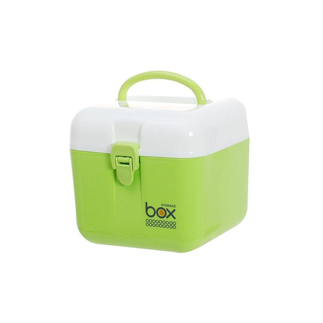 Bartram 救急箱 薬箱 収納ケース 家用薬収納ケース 子供の薬の収納ボックス 応急処置 2段 軽量/安全/携帯性高い 16*16*15