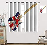 Union Jack Bedroom Curtains, Classical Electric Guitar UK Flag Great Britain Music Instrument Window Treatments Curtain 2 Panels, Each Panel 31.5' W x 72' L Light Brown Silver Black