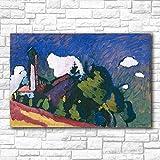 YHZSML Estudio para el Paisaje con la Torre Wassily Kandinsky Pintura para Sala de Estar Decoración del hogar Pintura al óleo sobre Lienzo Pintura de Pared 50X75 cm