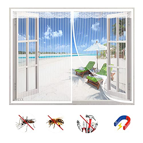 Zanzariera Magnetica Finestra, Magneti Rete Anti Zanzare Chiusura Automatica Nessuna Perforazione Traspirante, per Tutte Le Taglie Finestra o Porte-White-B|| 31x31inch(80x80cm)