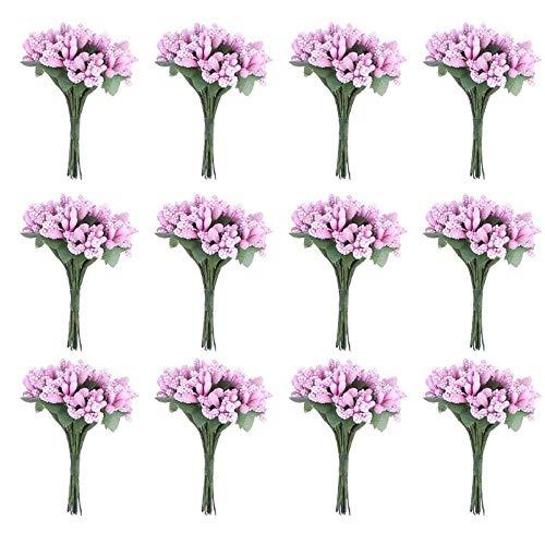 KONGZIR 12 Stück Getrocknete künstliche Blumen Bud Stamen Berry Bacca Blume for Hochzeitsdekoration DIY Scrapbooking Geschenk-Box Dekorative (Color : Pink, Size : As Shown)