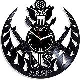 GVSPMOND Reloj de Pared con Disco de Vinilo, Hombres Militares, Regalos Militares, decoración del hogar Militar Moderna, Regalos Profesionales, Reloj de Pared de 12 Pulgadas
