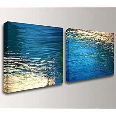 Beckon  - Modern Canvas Wall Art Set - Blue / Gold