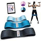 Sport2People Exercise Band for Legs and Butt with Free 4-Week Booty Workout Program - Fabric Resistance Loop Bands Set for Strength Training, Home Gym, Fitness (Set Blue)