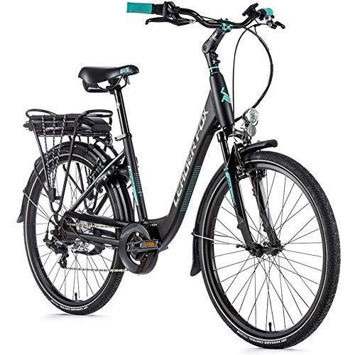 26 Zoll Leader Fox Elektro Fahrrad Damen City E Bike 36V 12,8 Ah Pedelec schwarz matt