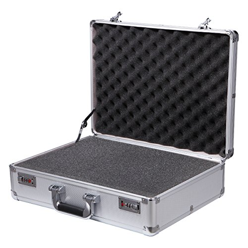 Aluminum Tool Box Silver Equipment Tool Case with Pre-Scored Foam Insert Hard Case Carrying Case Portable Metal Briefcase Large Storage Box Organizer Case