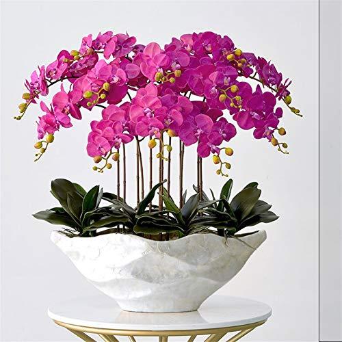 AO HAI Flores Artificiales Large Artificial Butterfly Orchid Bonsai Fake Flower and Jarrón Arreglo Seda Paño Mariposa Orquídea Bonsai Decoración del hogar Flores Artificiales Decoracion jarrones