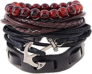 Boat anchor Braided black Leather men Bracelet