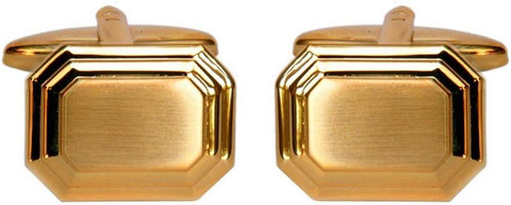 David Van Hagen Mens Stepped Cufflinks - Gold