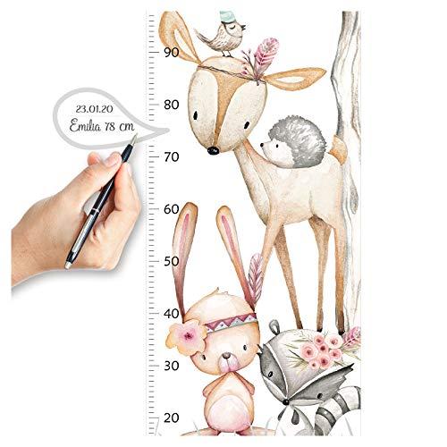 Little Deco Wandtattoo Wandsticker Kinderzimmer Mädchen Messlatte   150 cm REH Hase Waschbär Igel   Waldtiere Kinder Aufkleber Babyzimmer Wanddeko DL542