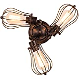 Industrial Flush Mount Ceiling Light Fixture, Rustic Rotatable Ceiling Lighting in Golden Bronze, Vintage 3-Light Wire Cage Sconce Wall Lighting for Farmhouse Bedroom Living Room Café, 1 Pack